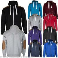 New Mens Suede Patch Fleece Zip Up Hoody Hoodie Sweatshirt Top Size S M L XL XXL
