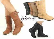 NEW Women's Mid Calf Riding Motorcycle Boots Military Slouch Fashion Flat Shoes
