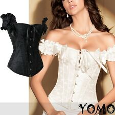 New Sexy White/Black Satin Women Boned CORSET Lace Up Bustier Shirt G-String