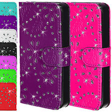 Leather Sparkle Bling Diamond Wallet Flip Magnetic Case Cover Apple iPhone 4 4S