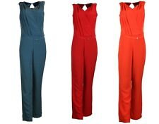 COLLECTION LONDON Womens Ladies Red Teal Orange Belted Smart Casual Jumpsuit