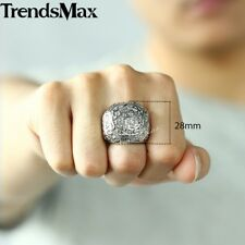 Silver Tone Carved Cross Crown Boys Mens Ring 316L Stainless Steel Ring Elegant