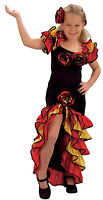 GIRLS RUMBA FLAMENCO SPANISH DANCE FANCY DRESS UP COSTUME OUTFIT NEW 4-6-8-10-12