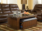 MEDIUM BROWN FINISH TRADITIONAL RECTANGULAR COCKTAIL COFFEE TABLE WITH OTTOMAN