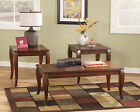 CHERRY STAINED FINISH TRADITIONAL OCCASIONAL TABLE SET COFFEE COCKTAIL LIVING