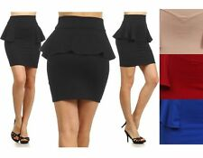 Sexy Fitted High Waist Bodycon Peplum Frill Stretch Pencil Skater Mini Skirt