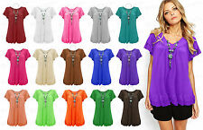 Ladies Frill Gypsy Women Necklace Tunic Short Sleeve V Neck Plus Size Tops 12-30