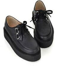 New Hot Trendy Women Lace Up High Platform Flats Retro Goth Punk Creepers Shoes
