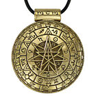 Large Bronze Alchemical Pentacle Septagram Pendant - Pagan Wiccan Jewelry Occult