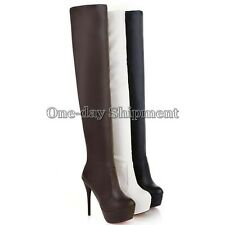 Fashion Womens Sexy High Stiletto Heel Over The Knee Thigh High Leg Knee Boots