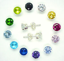 SOLID 925 STERLING SILVER CUBIC ZIRCONIA CZ STUD EARRINGS ROUND SQUARE CZ STUD