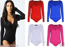 Womens Plus Size Long Sleeve V Neck Wrap Front Stretch Bodysuit Top Size 8-24