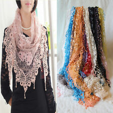 Women Lace Tassel Rose Floral Knit Mantilla Triangle Hollow Scarf Shawl Wraps