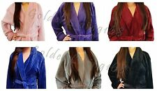 Women Premium Shawl Collar Velour Soft Plush Thick Bath Robe Warm Spa & Hotel