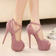 Women High Heels Pumps Stiletto Platform Peep Toe Sandal Waterproof Shoes GR