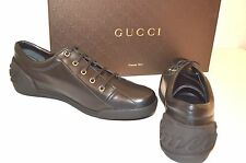 New AUTHENTIC  Gucci Men's 281009 black Nappa leather  Trainers Sneaker Shoes