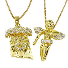 ANGEL JESUS PIECE COMBO Set Iced Out CZ Pendant Chain Gold Silver Rose Necklace