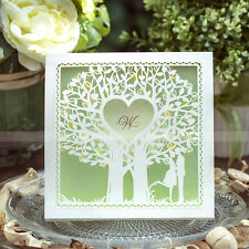 Laser Cut-out Love Tree Design Wedding Invitations Cards And Envelopes, Seals