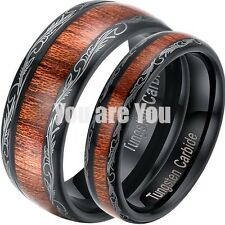 Men Women's Tungsten Carbide Wedding Band Brown Wood Inlay Comfort Fit Ring 5-13