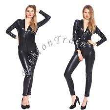 Woman Black Sexy Patent Leather Lingerie Fetish Gothic Clubwear Jumpsuit Catsuit
