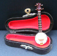 1:12th Scale Wooden Banjo & Black Case Doll House Miniature Music Instrument 154