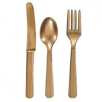 24 x GOLD Plastic Cutlery Set Knives forks spoons 8 of eash disposable tableware