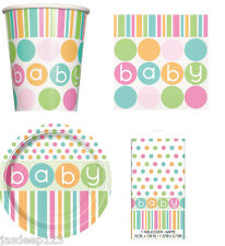 Baby Shower Neutral Polka Dots Party Pack Tableware Kit for 8 or 16 Plates Cups