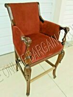 Frontgate Acanthus BAR counter chair red FABRIC BAR Barstool wood stools 30 seat