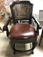 """Frontgate Dunsmore Leather Barstool COUNTER HEIGHT 24"""" Stool Counter Chair wood"""