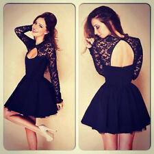 UK Womens Long Sleeve Sexy Lace Backless Evening Party Bodycon Mini Skater Dress