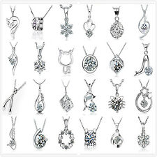 Women 925 Solid Silver Creative Crystal Rhinestone Pendant Chain Necklace Gift