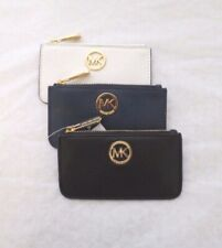 MICHAEL KORS Authentic MK Fulton Key Pouch Leather Wallet Black Navy White New