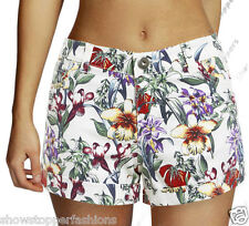 NEW Womens SHORTS DENIM Floral Ladies HOT PANTS Size 8 10 12 14 short Navy White