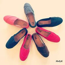 NEW WOMEN'S CLASSIC CANVAS SLIP ON FLATS CASUAL SHOES 6.7.8.9.10.11