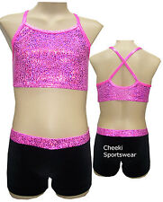 Size 6,7,8,9,10,12 -  Lined Crop Top/Shorts Set - Leotard Gymnastic Dance -
