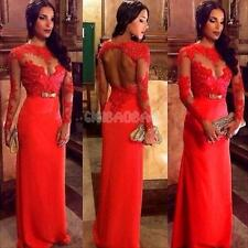 Women's Lace Long Evening Ball Prom Gown Formal Bridesmaid Cocktail Party Dress