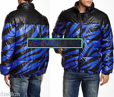 NWT Versace Jeans By Gianni Versace Logo Black with Blue Zebra Pattern Jacket