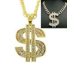 New Women Men Gold Metal Chain Fashion Necklace Large Dollar Sign Big $ Pendant