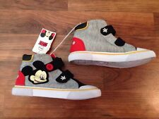 NEW Toddler Boy Girl Mickey Mouse Shoes Canvas High Top Velcro 5 6 7 9 10 11 12