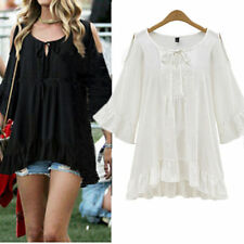 Fashion Women Summer Loose Short Sleeve Casual Shirt Tops Blouse PLUS SIZE L-4XL