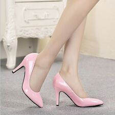 Womens Fashion Patent Leather Pointed Toe Pumps Mid Heels OL Work Shoes Size4-10