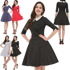 Polka Dot Hot Vintage 50s ROCKABILLY Swing Pin Up Housewife Evening Party Dress