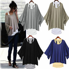 Fashion Lady's Casual Loose Batwing Blouse Tops T-shirt & Tank Vest  Plus Size