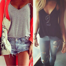 Sexy Women's Summer V-Neck Vest Casual Sleeveless Candy Color Tank T-Shirt Tops