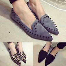New Women's Pointed Toe Buckle Sandals Comfy Flats Loafers Rivet Studded Shoes