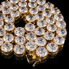 18k Gold 1 Row 12MM Simulated Lab Diamond Iced Out Chain Hip Hop Tennis Necklace