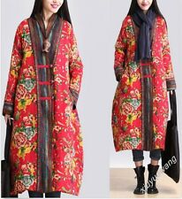 New Chinese Folk Manual Button Women's Long Floral Quilted Coat Jacket Outwear #