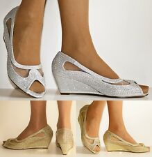 Womens Diamante Wedge Peep Toe Low Mid Heel Evening Party Court Shoes Pumps Size