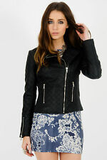 NEW LADIES WOMENS BLACK PU FAUX LEATHER ZIPPED PVC QUILTED BIKER JACKET COAT TOP
