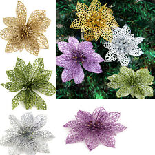 New Christmas Flowers Xmas Tree Decoration Glitter Hollow Wedding Party Decor